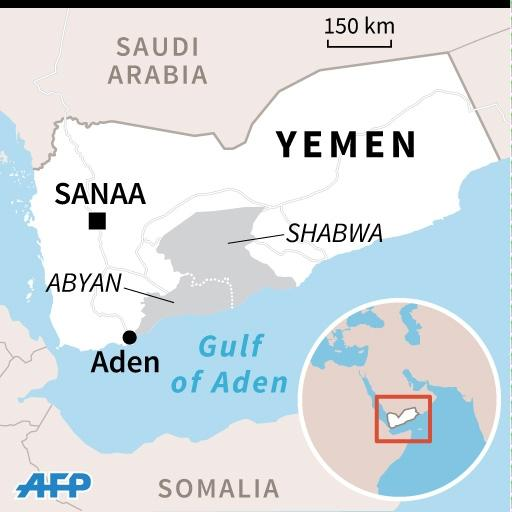 Map of Yemen locating the provinces of Abyan and Shabwa (AFP Photo/Jean Michel CORNU, Vincent LEFAI)
