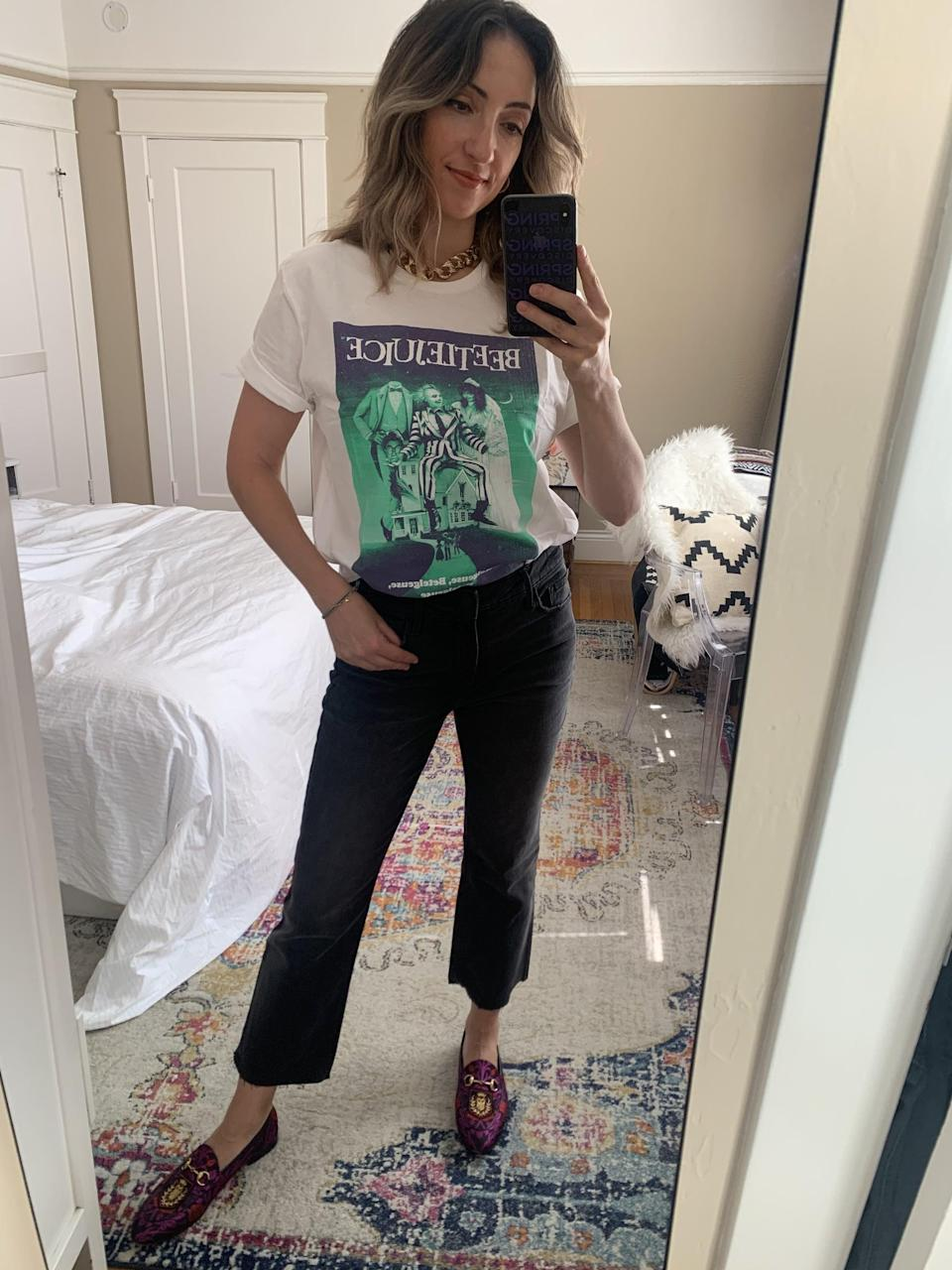 """<p><strong>The item:</strong> <span>Old Navy Beetlejuice t-shirt</span> (Sold Out)</p> <p><strong>What our editor said</strong>: """"I wanted something comfortable, loose-fitting, and maybe a little moody, too. It didn't take long for me to find it at Old Navy. The Beetlejuice tee had everything I was looking for."""" - RB </p> <p>If you want to read more, here is the <a href=""""http://www.popsugar.com/fashion/beetlejuice-t-shirt-for-women-47817822"""" class=""""link rapid-noclick-resp"""" rel=""""nofollow noopener"""" target=""""_blank"""" data-ylk=""""slk:complete review"""">complete review</a>.</p>"""