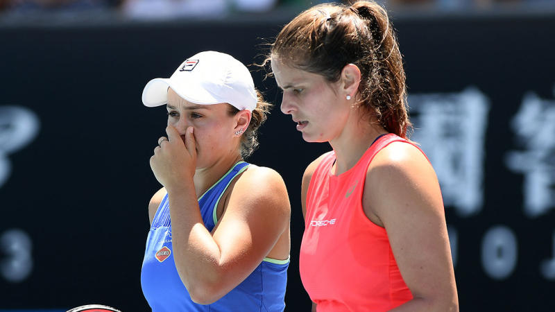 Ashleigh Barty and Julia Goerges play in their during their Women's Doubles second round match against Timea Babos and Kristina Mladenovic on day six of the 2020 Australian Open. (Photo by Jaimi Chisholm/2020 Getty Images)