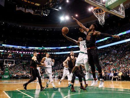 May 23, 2018; Boston, MA, USA; Cleveland Cavaliers forward Jeff Green (32) blocks a layup from Boston Celtics guard Terry Rozier (12) during the fourth quarter of Boston's 96-83 win over the Cleveland Cavaliers in game five of the Eastern conference finals of the 2018 NBA Playoffs at TD Garden. Mandatory Credit: Winslow Townson-USA TODAY Sports