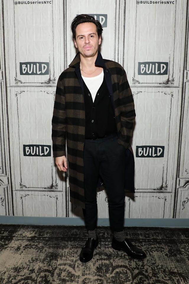 <p>WHAT: A Rag & Bone coat</p> <p>WHERE: AOL's Build Studio in New York City</p> <p>WHEN: October 10, 2019</p> <p>WHY: This is the best time of year for coats and Andrew Scott, for one, isn't going to miss it.</p>