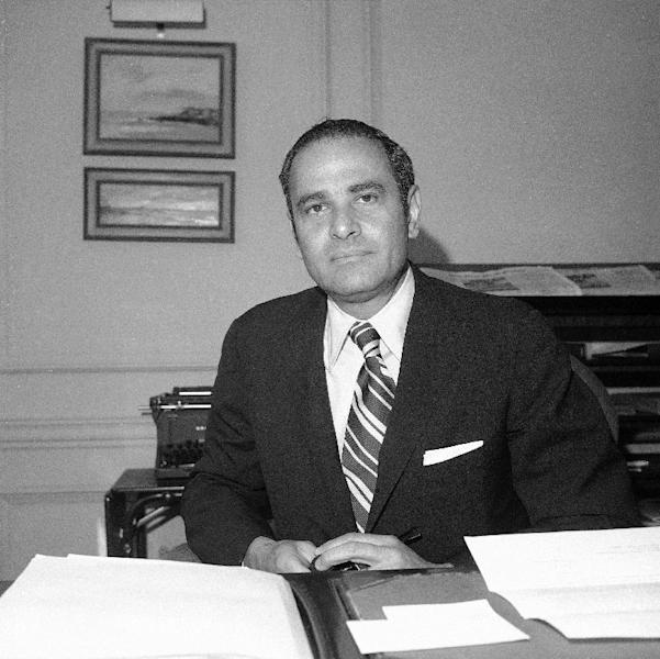 FILE - This March 12, 1973 file photo shows New York Times publisher Arthur Ochs Sulzberger in his office in New York. Sulzberger has died at age 86. The newspaper reports that his family says Sulzberger died Saturday, Sept. 29, 2012, at his home in Southampton, N.Y., after a long illness. He had retired in 1992 after three decades at the paper's helm and was succeeded by his son, Arthur Jr. (AP Photo/Anthony Camerano, File)