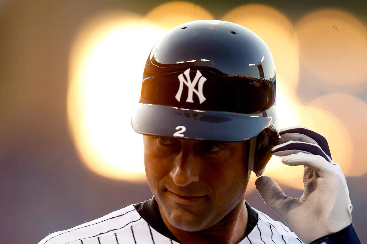 KANSAS CITY, MO - JULY 10:  American League All-Star Derek Jeter #2 of the New York Yankees looks on after grounding out to second base in the third inning during the 83rd MLB All-Star Game at Kauffman Stadium on July 10, 2012 in Kansas City, Missouri.  (Photo by Jamie Squire/Getty Images)