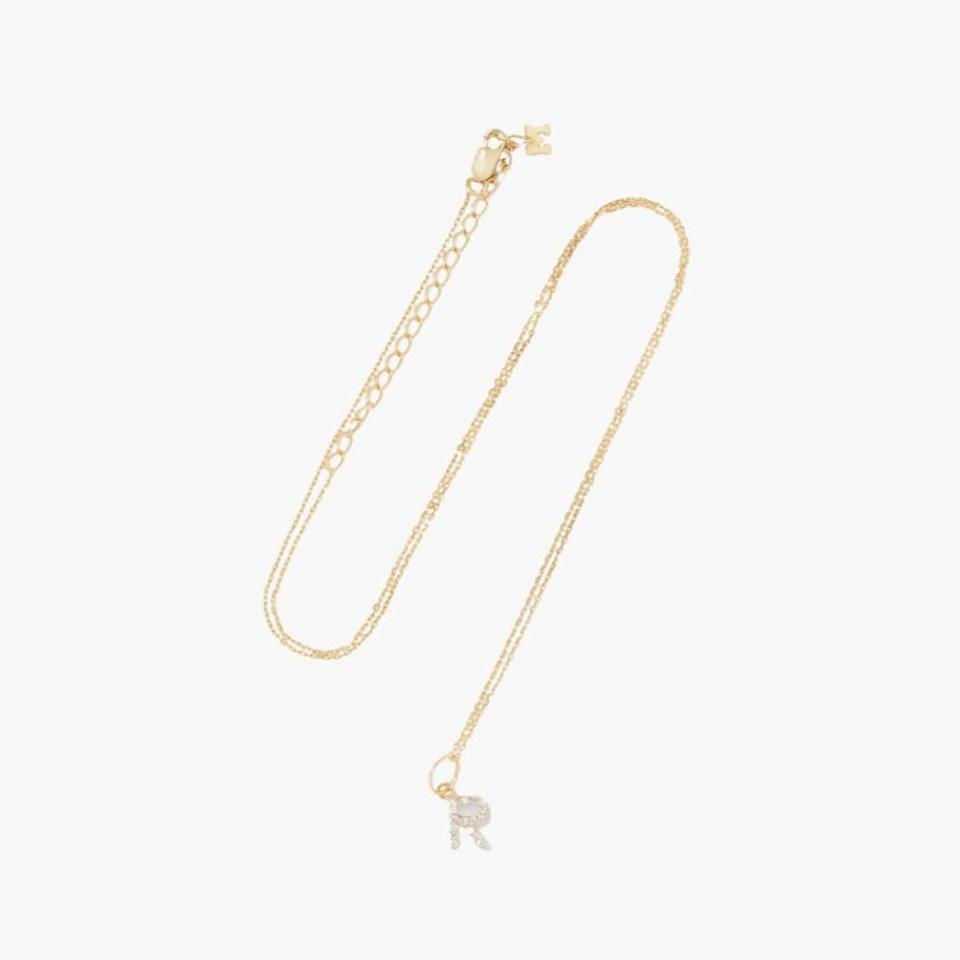 "$595, NET-A-PORTER. <a href=""https://www.net-a-porter.com/en-us/shop/product/mateo/initial-14-karat-gold-diamond-necklace/1283611"" rel=""nofollow noopener"" target=""_blank"" data-ylk=""slk:Get it now!"" class=""link rapid-noclick-resp"">Get it now!</a>"