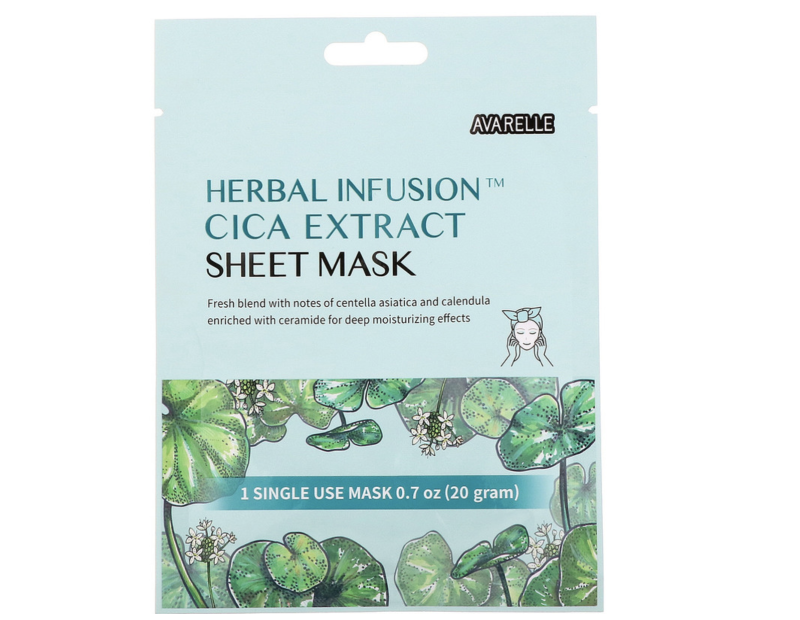 Avarelle, Herbal Infusion, Cica Extract Sheet Mask. (PHOTO: iHerb)