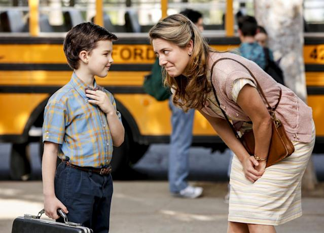 Iain Armitage as Sheldon Cooper and Zoe Perry as Mary Cooper in 'Young Sheldon' (Photo: Robert Voets/CBS)