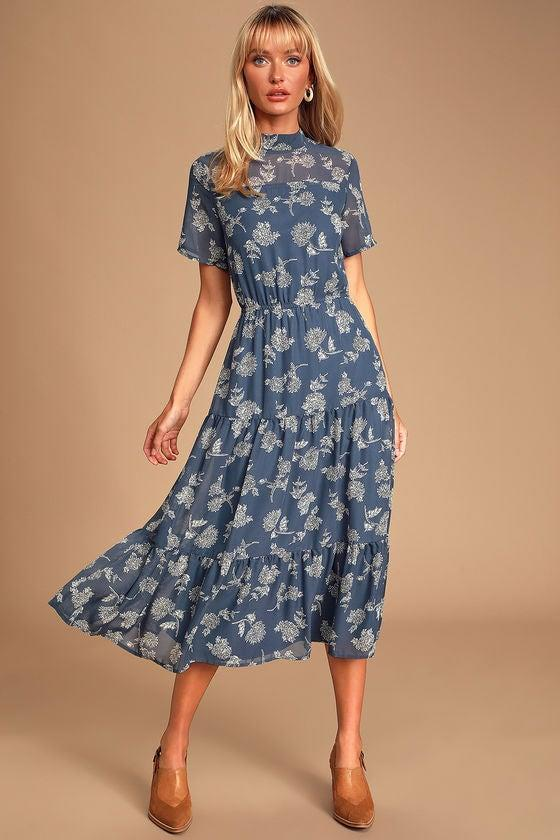 """<h2>Floral Dressed Up Dusty Blue Floral Print Midi Dress</h2><br>Over 500 reviewers declared serious satisfaction with this cottagecore-chic dress. (There are 17 IRL photos to give a sense of its fit on different body types.) """"This has to be one of my all-time favorite dresses,"""" declared Zoe B. """"It fit so well and the pattern is beautiful. I got soo many compliments on it and lots of others asking where it was from. So flowy and breathable. I'm absolutely obsessed!!!""""<br><br><br><strong>Lulus</strong> Floral Dressed Up Dusty Blue Floral Print Midi Dress, $, available at <a href=""""https://go.skimresources.com/?id=30283X879131&url=https%3A%2F%2Fwww.lulus.com%2Fproducts%2Ffloral-dressed-up-dusty-blue-floral-print-midi-dress%2F887402.html"""" rel=""""nofollow noopener"""" target=""""_blank"""" data-ylk=""""slk:Lulus"""" class=""""link rapid-noclick-resp"""">Lulus</a>"""