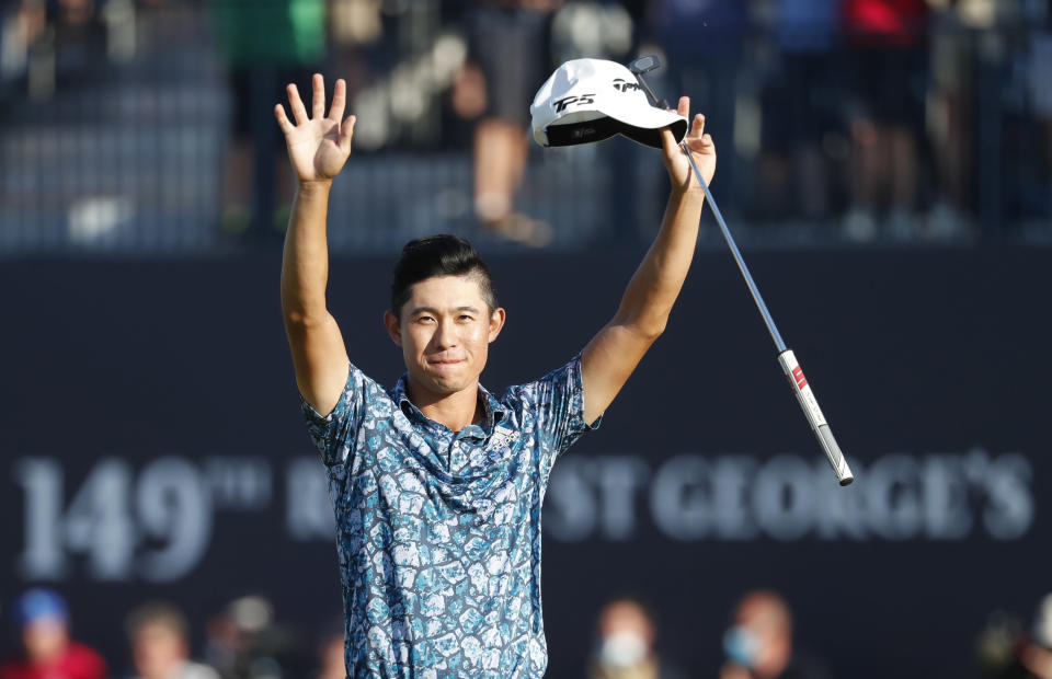 FILE - In this July 18, 2021, file photo, United States' Collin Morikawa celebrates on the 18th green after winning the British Open Golf Championship at Royal St George's golf course Sandwich, England. Morikawa is an example of American golfers helping to raise the profile of golf in the Olympics. (AP Photo/Peter Morrison, File)