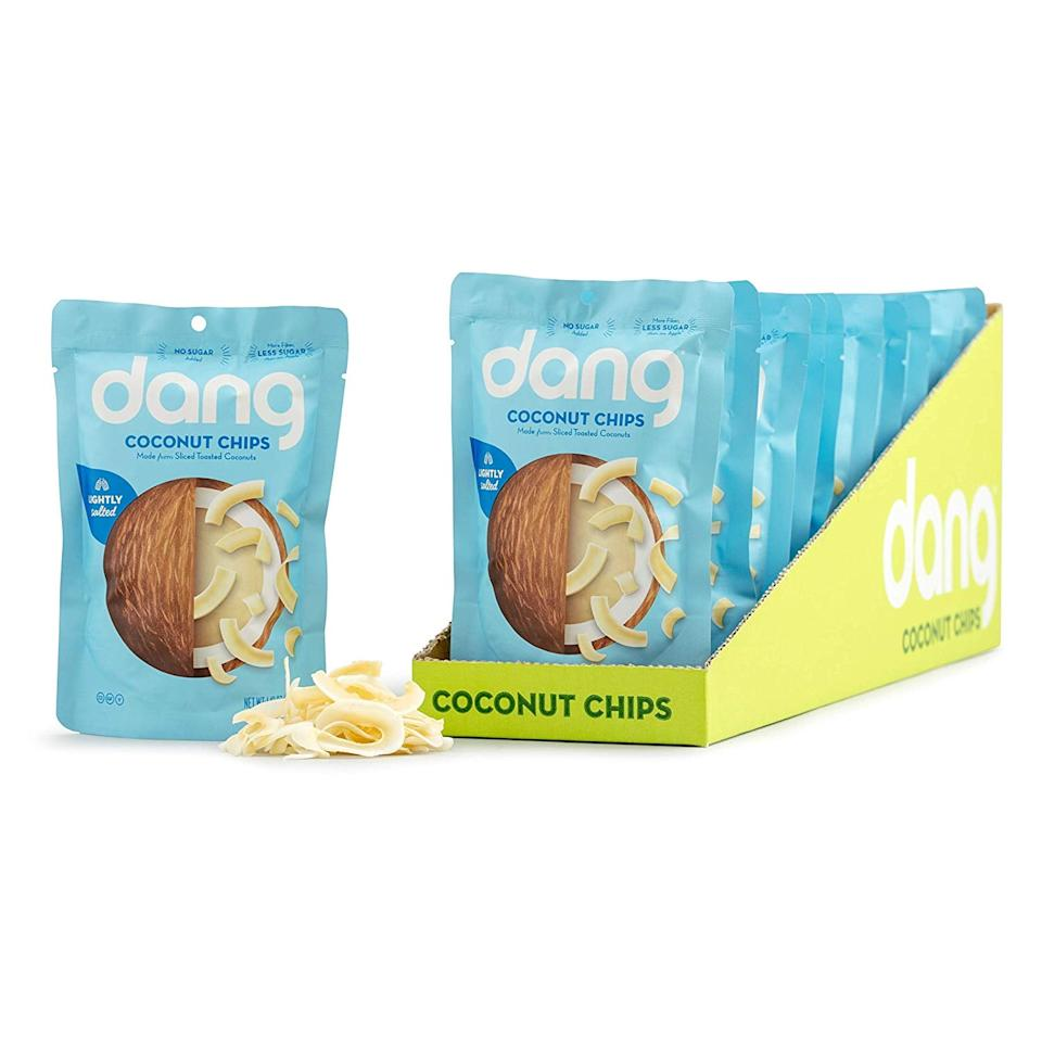 "<p>If you want something a little sweet and a little crunchy, these <a href=""https://www.popsugar.com/buy/Dang-Toasted-Coconut-Chips-479374?p_name=Dang%20Toasted%20Coconut%20Chips&retailer=amazon.com&pid=479374&price=33&evar1=fit%3Aus&evar9=46535168&evar98=https%3A%2F%2Fwww.popsugar.com%2Ffitness%2Fphoto-gallery%2F46535168%2Fimage%2F46535272%2FDang-Toasted-Coconut-Chips&list1=shopping%2Camazon%2Chealthy%20snacks%2Csnacks%2Clow-carb&prop13=mobile&pdata=1"" rel=""nofollow"" data-shoppable-link=""1"" target=""_blank"" class=""ga-track"" data-ga-category=""Related"" data-ga-label=""https://www.amazon.com/Toasted-Coconut-Gluten-Lightly-Unsweetened/dp/B00WVSMT1M/ref=sxin_8_osp23-aedc8a53_cov?ascsubtag=aedc8a53-52bf-47cb-814a-5a52ac2930dc&amp;creativeASIN=B00WVSMT1M&amp;crid=HM03H6XAJJ9T&amp;cv_ct_id=amzn1.osp.aedc8a53-52bf-47cb-814a-5a52ac2930dc&amp;cv_ct_pg=search&amp;cv_ct_wn=osp-search&amp;keywords=keto%2Bsnacks&amp;linkCode=oas&amp;pd_rd_i=B00WVSMT1M&amp;pd_rd_r=c176ab95-0ff6-4924-adf9-bc1efe3ac64e&amp;pd_rd_w=5SkZw&amp;pd_rd_wg=nwh5J&amp;pf_rd_p=c501273b-119a-4fc9-ad78-eda5006b0be9&amp;pf_rd_r=BWN264FW5EJ5QKMG0MN5&amp;qid=1565705256&amp;s=gateway&amp;sprefix=keto%2Bsn%2Caps%2C140&amp;tag=pur0e40b-20&amp;th=1"" data-ga-action=""In-Line Links"">Dang Toasted Coconut Chips</a> ($33 for 12) are for you. They've got five grams of net carbs.</p>"