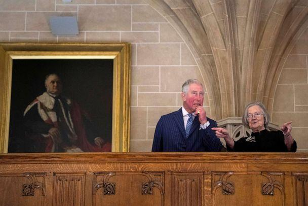 PHOTO:Charles, the Prince of Wales accompanied by Lady Hale, the President of the Supreme Court, visits the Supreme Court of the United Kingdom in Parliament Square to commemorate its 10th anniversary, in London, Feb. 5, 2019. (Victoria Jones/Pool via Reuters)