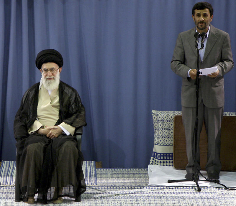 FILE - This Monday, Aug. 3, 2009 file photo released by the official website of the Iranian Supreme Leader's office, shows Iranian President Mahmoud Ahmadinejad, right, delivering a speech after Supreme Leader Ayatollah Ali Khamenei, seated at left, formally endorsed him for a second term as President during an official ceremony in Tehran, Iran. As Iran's capacity to build nuclear weapons grows, intelligence assessments from nations that follow Tehran's atomic progress discern increasing indecision and squabbling by its leadership on whether to make such arms -  and if so, how overtly. Most suggest Ahmadinejad is more circumspect. But an intelligence summary shared recently with The Associated Press sees Supreme Leader Ayatollah Ali Khamenei as the more cautious of the two and says the Revolutionary Guard is benefiting from the dispute, with some of the authority normally exercised by the president devolving to it. (AP Photo/Office of the Supreme Leader, File) ** EDITORIAL USE ONLY, NO SALES ** EDITORS NOTE AS A RESULT OF AN OFFICIAL IRANIAN GOVERNMENT BAN ON FOREIGN MEDIA COVERING SOME EVENTS IN IRAN, THE AP WAS PREVENTED FROM INDEPENDENT ACCESS TO THIS EVENT