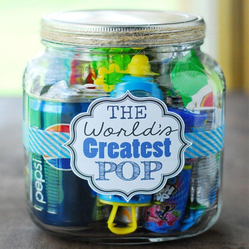 "<p>The Dad who loves puns will especially love this fun gift. Fill a jar with products relating to ""Pop"" like Pop Rocks, soda pop, and popcorn to bring a smile to Dad's face. </p><p><em>Get the tutorial at <a href=""https://www.thegunnysack.com/fathers-day-gift-ideas-worlds-greatest-pop-gift-in-a-jar/"" rel=""nofollow noopener"" target=""_blank"" data-ylk=""slk:The Gunny Sack"" class=""link rapid-noclick-resp"">The Gunny Sack</a>.</em></p>"