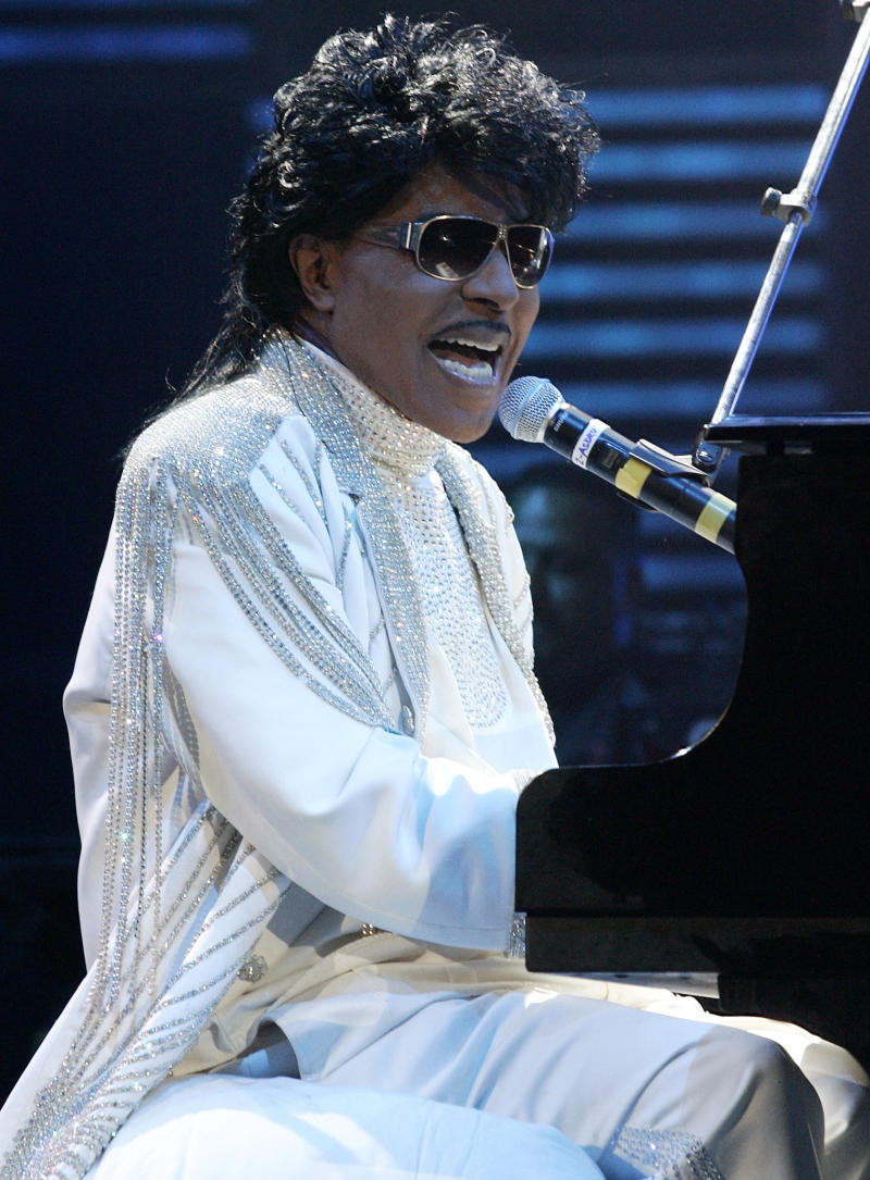 FILE - In this May 30, 2009 file picture, Little Richard performs at The Domino Effect, a tribute concert to New Orleans Rock and Roll musician Fats Domino, in New Orleans, La. Macon, Ga. officials say they plan to move the boyhood home of Little Richard to spare it from a highway construction project. Mayor Robert Reichert and others made the announcement as the 80-year-old Rock and Roll Hall of Fame inductee was scheduled to receive an honorary degree Saturday, may 11, 2013 from Mercer University. (AP Photo/Patrick Semansky, File)