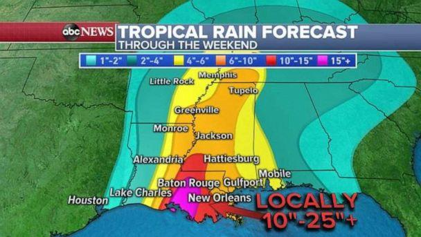 PHOTO: As much as 2 feet of rain is possible in parts of Louisiana, with double-digit totals extending up through Mississippi. (ABC News)