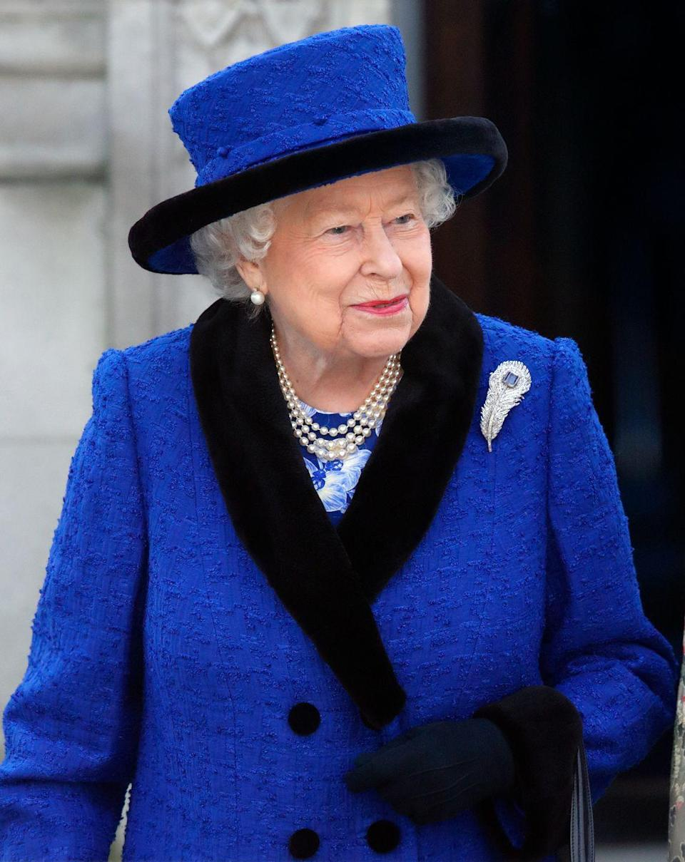 <p>Queen Elizabeth received this diamond and sapphire feather brooch as a wedding gift in 1947 from the jewelry firm Carrington's. </p>