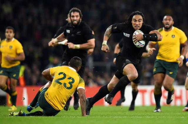 FILE PHOTO: Ma'a Nonu of New Zealand runs to score a try during their Rugby World Cup final match against Australia at Twickenham in London