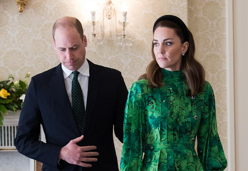 DUBLIN, IRELAND - MARCH 03: Catherine, Duchess of Cambridge and Prince William, Duke of Cambridge attend a meeting with the President of Ireland at Áras an Uachtaráin on March 03, 2020 in Dublin, Ireland. The Duke and Duchess of Cambridge are undertaking an official visit to Ireland between Tuesday 3rd March and Thursday 5th March, at the request of the Foreign and Commonwealth Office. (Photo by Samir Hussein/WireImage)