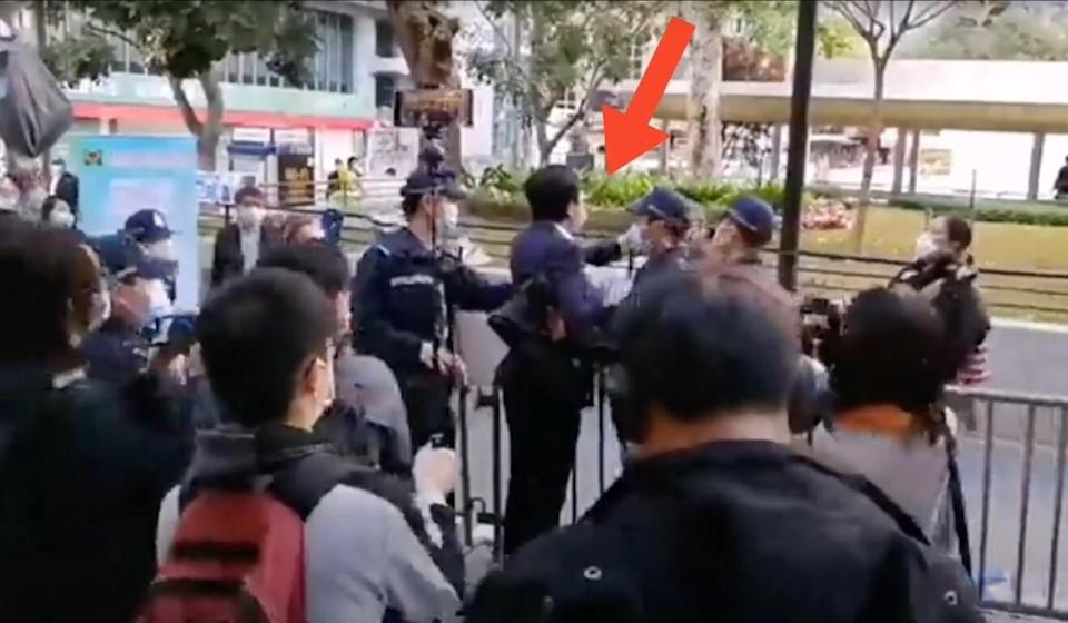Video footage circulated on social media shows Avery Ng reaching a hand out towards a man who had been shouting at him through a megaphone. Photo: Facebook