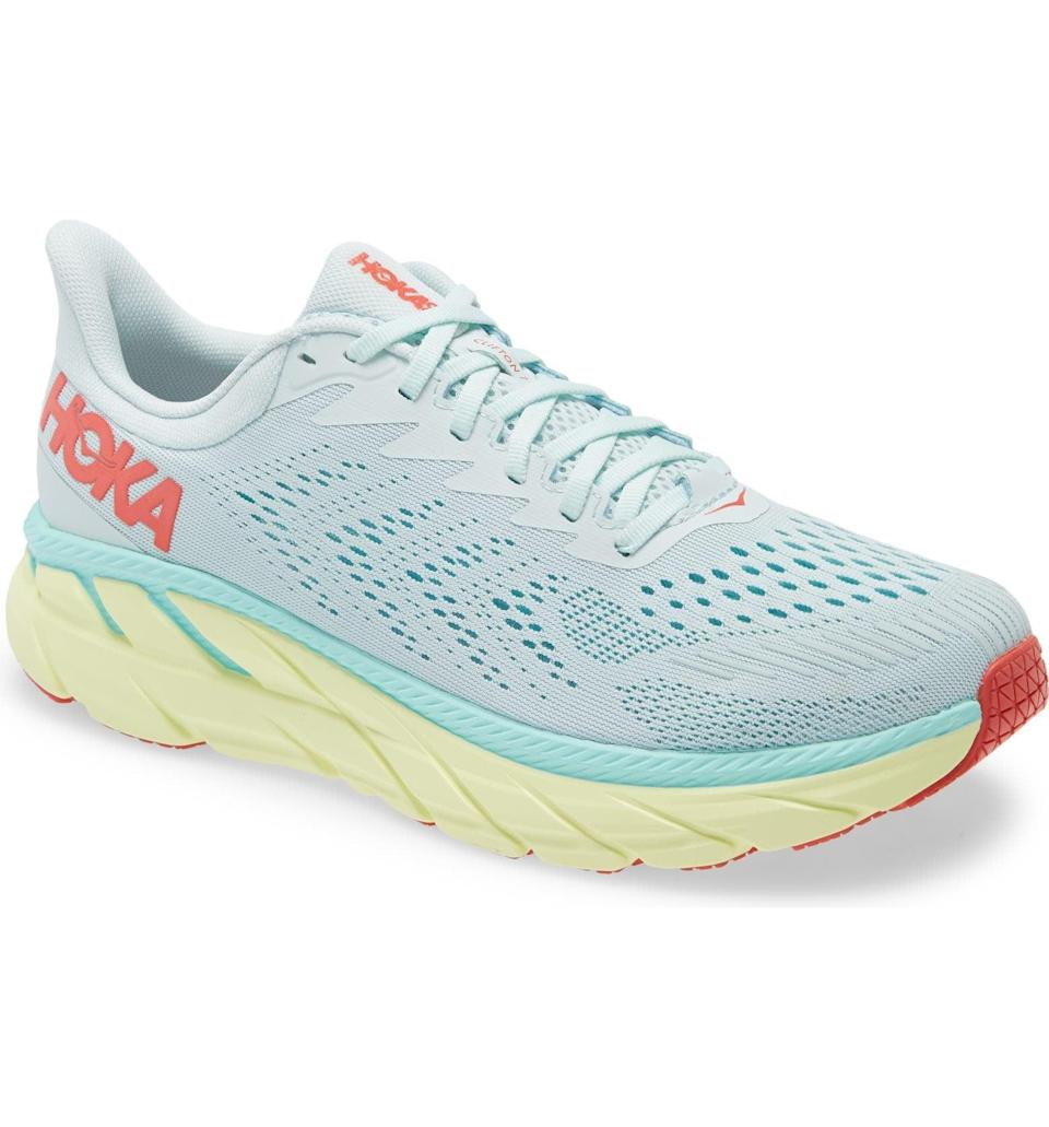 """<p>The <span>Hoka One One Clifton 7 Running Shoe</span> ($130), is the perfect combo of cute and functional when it comes to running shoes. </p> <p>""""They felt comfortable the second I tried them on and they allow me to run for an hour without any knee or foot pain, whether running on pavement or trails. And I love the feminine misty rose color!"""" - Jenny Sugar, staff writer, Fitness. </p> <p>""""After running in Hokas for the first time, I was hooked. They have a larger sole, which you need to get used to, but it completely got rid of my knee pain during long runs. I have them in black and white and can't wait to try this new gold color."""" - Dana Avidan Cohn, executive style director.</p>"""
