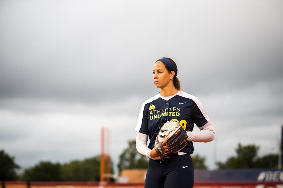 Cat Osterman pitches in a game during the first ever softball season with Athletes Unlimited. Osterman was named the inaugural champion after earning more points than all other players.
