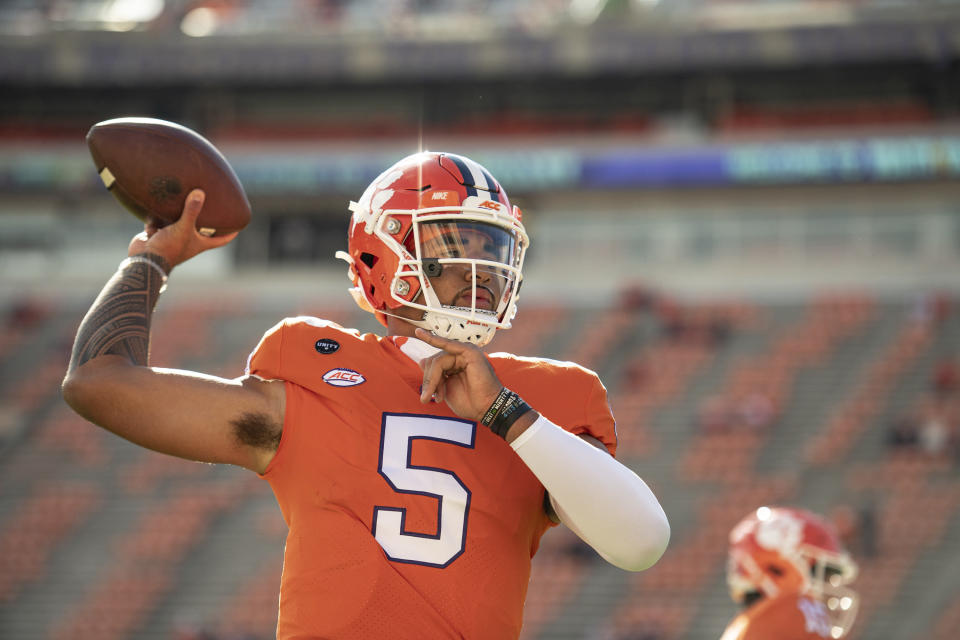 Clemson quarterback D.J. Uiagalelei (5) warms up before an NCAA college football game against Boston College on Saturday, Oct. 31, 2020, in Clemson, S.C. (Josh Morgan/Pool Photo via AP)