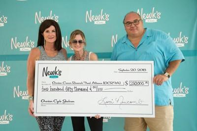 Lori Newcomb, Newk's Cares co-founder with Audra Moran, President & CEO of Ovarian Cancer Research Alliance and Chris Newcomb, Newk's Cares co-founder