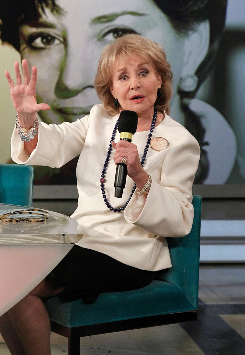 """FILE- In this May 15, 2014 photo provided by ABC, Barbara Walters speaks during a taping of her final co-host appearance on """"The View,"""" in New York. On Friday, May 23, 2014, Walters announced that she will give a trove of tapes, papers and photos from her five decades in journalism to Sarah Lawrence College, her alma mater. (AP Photo/ABC, Lou Rocco, File)"""