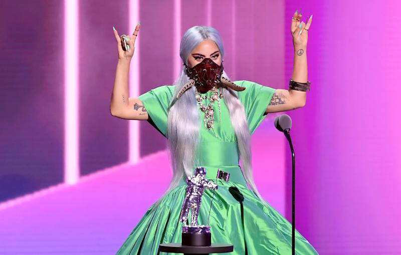 """UNSPECIFIED - AUGUST 2020: Lady Gaga accepts the Song of the Year award for """"Rain on Me"""" onstage during the 2020 MTV Video Music Awards, broadcast on Sunday, August 30th 2020. (Photo by Kevin Winter/MTV VMAs 2020/Getty Images for MTV)"""