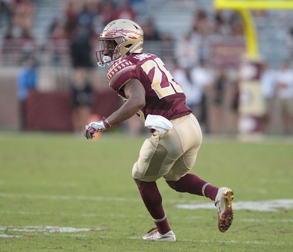 Florida State defensive back Asante Samuel Jr. reacts to a play during the game against Syracuse. (Photo by Logan Stanford/Icon Sportswire via Getty Images)