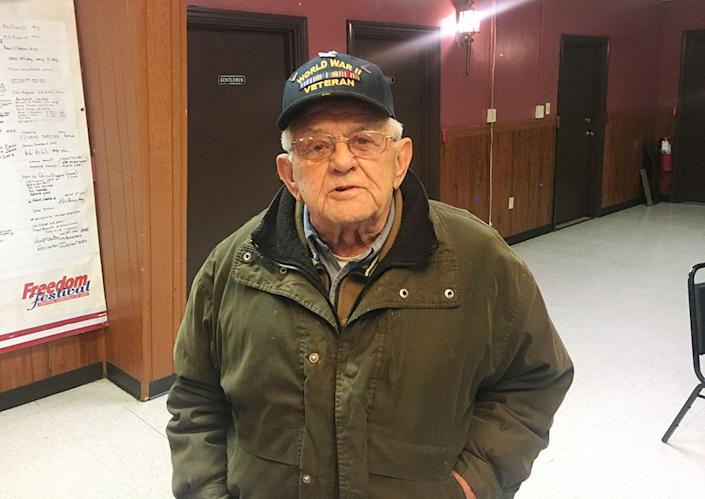 """Ted Skowvron, a 93-year-old World War II veteran and retired union crane operator, is angry about President Donald Trump. At an event for Democrat Conor Lamb at the American Legion post in Houston, Pennsylvania, on Jan. 13, Skowvron braved the snow and below-freezing temperatures to encourage Lamb to take on the president. <br /><br />""""I just wanted to let you know: Get in there and get him out. Cuss if you don't do it. I'm coming down myself,""""Skowvronsaid. """"The way Trump talks to people, the way he's treating the world ... He's ruining the country,"""" Skowvron added."""