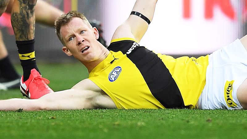 Jack Riewoldt, pictured here appealing for the contentious free kick.