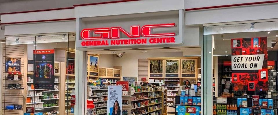 GNC vitamins nutrition center storefront shopping mall, Danvers Massachusetts USA, February 22, 2020
