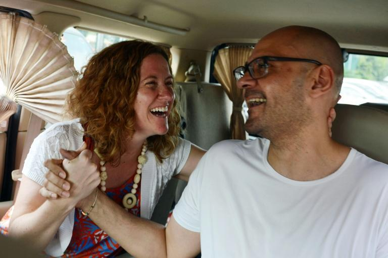 Neil Bantleman and his wife Tracy, seen after his release from Jakarta's Cipinang prison on August 14, 2015