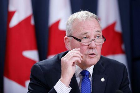 Bill Blair, the Canadian government's point man on the legalised marijuana file, speaks during a news conference in Ottawa