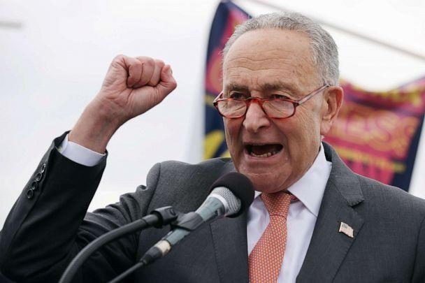 PHOTO: Senate Majority Leader Charles Schumer addresses thousands of demonstrators from across the country as they rally in support of a pathway to citizenship on the National Mall, Sept. 21, 2021 in Washington, DC. (Chip Somodevilla/Getty Images)