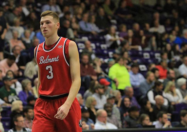 NASHVILLE, TN - DECEMBER 04: Belmont Bruins guard Dylan Windler (3) walks down the floor at the end of the first half during the Battle of the Boulevard between the Belmont Bruins and Lipscomb Bison on December 4, 2017 at Allen Arena in Nashville, Tennessee. (Photo by Matthew Maxey/Icon Sportswire via Getty Images)