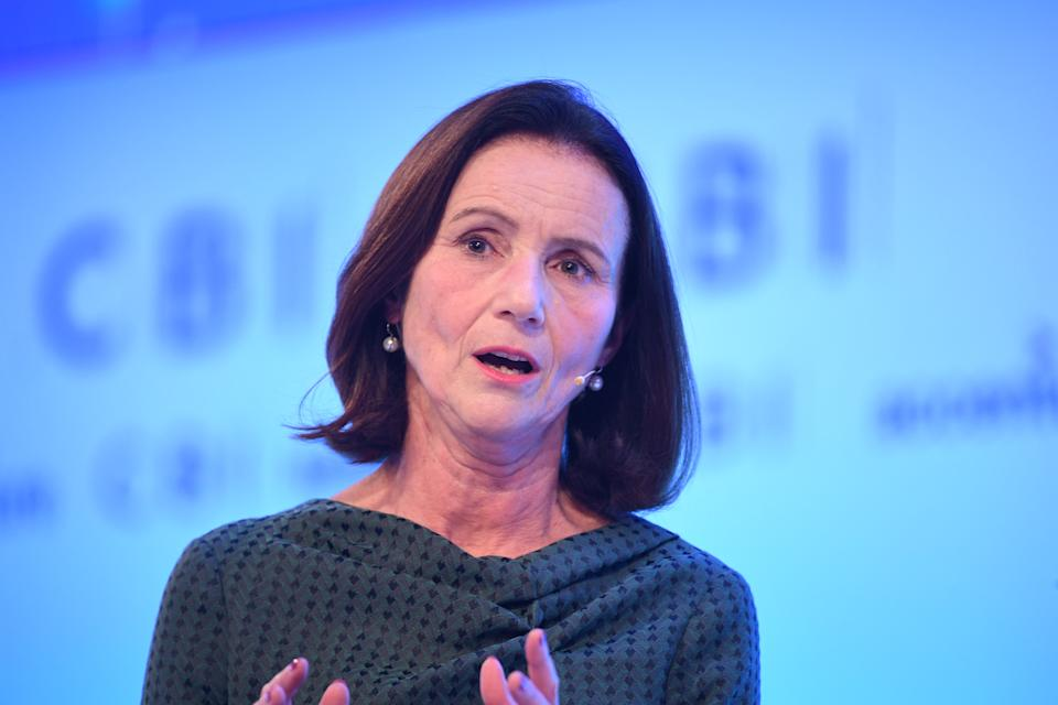 Director-General of the CBI, Dame Carolyn Fairbairn speaking at the CBI annual conference at the InterContinental Hotel in London.