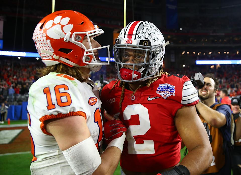 Clemson quarterback Trevor Lawrence (16) greets Ohio State defensive end Chase Young (2) after the 2019 Fiesta Bowl. (USA Today)
