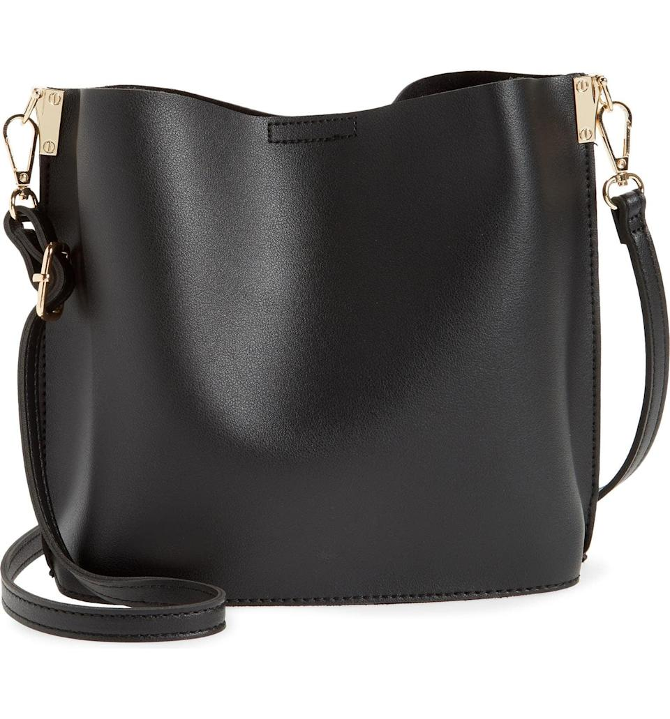 <p>This <span>Street Level Faux Leather Crossbody Bag</span> ($54) is polished enough to take to the office and after-work happy hour. It has a roomy and minimalist silhouette that will match any outfit.</p>