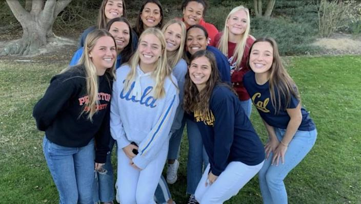 Eleven players off the Laguna Beach water polo team have signed with colleges. Bottom row left to right: Rachael Carter, Molly Renner, Jessie Rose, Emma Singer. Middle row: Emma Lineback, Nicole Strauss, Imani Clemons, Skylar Kidd. Back row: Mikayla Lopez, Kenedy Corlett, Ella Baumgarten.