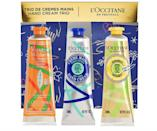 "<p>This winter, take care of your hands with this adorable <a href=""https://www.sephora.com/product/l-occitane-shea-limited-edition-holiday-hand-cream-trio-P463889?icid2=products%20grid:p463889"" class=""link rapid-noclick-resp"" rel=""nofollow noopener"" target=""_blank"" data-ylk=""slk:L'Occitane  Shea Limited Edition Holiday Hand Cream Trio"">L'Occitane<br> Shea Limited Edition Holiday Hand Cream Trio</a> ($29).</p>"