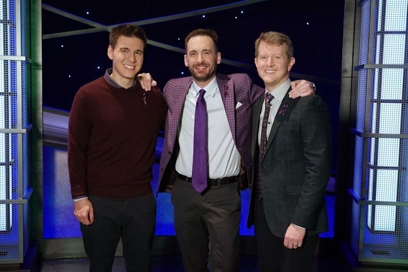 """James Holzhauer, Brad Rutter and Ken Jennings face off on """"Jeopardy! The Greatest of All Time."""" (Photo: Eric McCandless via Getty Images)"""