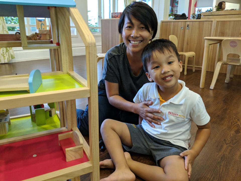 (Russell Foo, 4<span>½</span> (right), and his mother Foo Wann Yun, 40, at Bright Path on 27 July, 2018. PHOTO: Wong Casandra/Yahoo News Singapore)