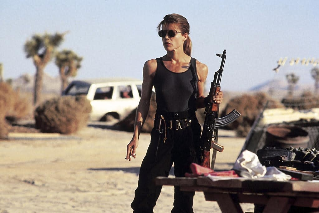 "<a href=""http://movies.yahoo.com/movie/contributor/1800026147"">Linda Hamilton</a>, ""<a href=""http://movies.yahoo.com/movie/1800161524/info"">Terminator 2: Judgment Day</a>""<br><br>Pumping iron while imprisoned paid off for Linda Hamilton's Sarah Connor, who emerged as a legitimate lethal lady by the time T2 hit theaters. Not only did she give Arnold a run for his money in the gun department, she also helped terminate the T-1000, delaying Judgment Day."