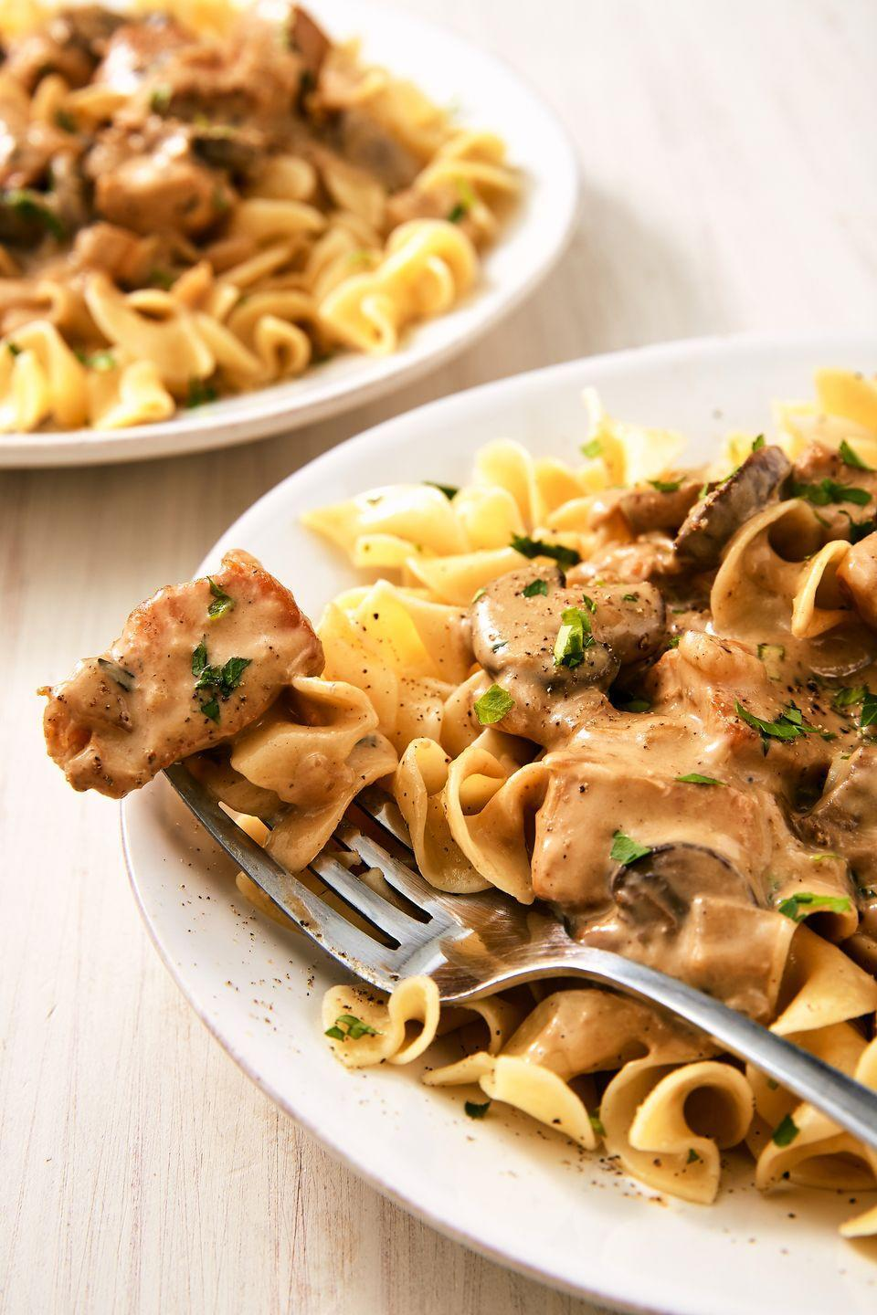 """<p>A bit lighter than the original beef stroganoff, but just as flavorful!</p><p>Get the recipe from <a href=""""https://www.delish.com/cooking/recipe-ideas/a25647973/chicken-stroganoff-recipe/"""" rel=""""nofollow noopener"""" target=""""_blank"""" data-ylk=""""slk:Delish"""" class=""""link rapid-noclick-resp"""">Delish</a>. </p>"""