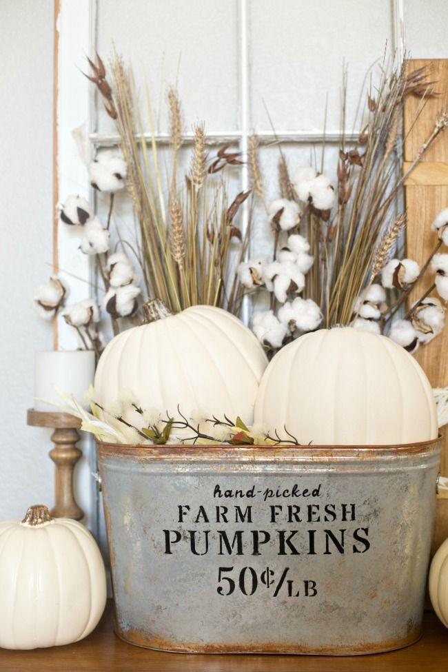 """<p>Turn a rusty old galvanized bucket into a pretty place for pumpkins, flowers, or an assortment of throws to drape over your shoulders at night. </p><p><a class=""""link rapid-noclick-resp"""" href=""""https://www.anightowlblog.com/diy-farmhouse-pumpkin-bucket/"""" rel=""""nofollow noopener"""" target=""""_blank"""" data-ylk=""""slk:GET THE TUTORIAL"""">GET THE TUTORIAL</a></p>"""