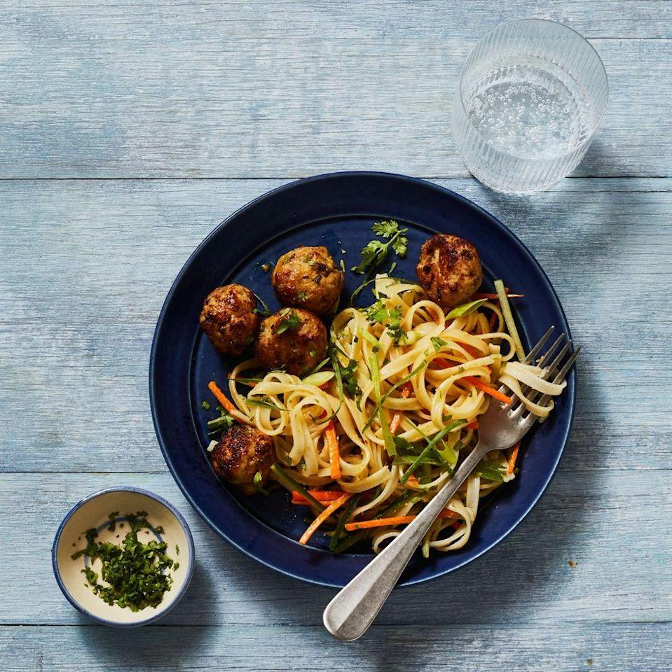 "<p>Lime zest, fish sauce, tons of fresh ginger, and a bit of jalapeño season juicy pork meatballs before they're cooked until gorgeously golden brown in the air fryer.</p><p><em><a href=""https://www.goodhousekeeping.com/food-recipes/a34209267/gingery-pork-meatballs-recipe/"" rel=""nofollow noopener"" target=""_blank"" data-ylk=""slk:Get the recipe for Gingery Pork Meatballs »"" class=""link rapid-noclick-resp"">Get the recipe for Gingery Pork Meatballs »</a></em></p><p><strong>RELATED:</strong> <a href=""https://www.goodhousekeeping.com/food-recipes/g34521867/air-fryer-recipes/"" rel=""nofollow noopener"" target=""_blank"" data-ylk=""slk:20 Easy Air Fryer Recipes For The Best Weeknight Dinners"" class=""link rapid-noclick-resp"">20 Easy Air Fryer Recipes For The Best Weeknight Dinners</a><br></p>"