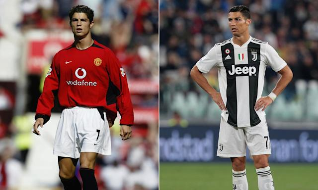 Cristiano Ronaldo's debut for Manchester United (left) had George Best describing it as 'the best I've ever seen'. Fifteen years on he returns to Old Trafford with Juventus.