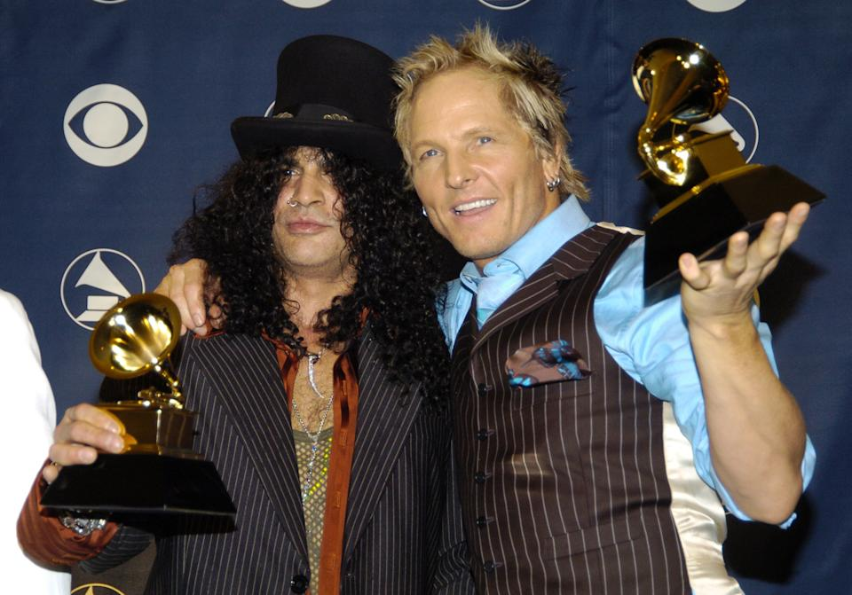 Slash and Matt Sorum as part of Velvet Revolver won a Grammy Award for Best Hard Rock Performance. (Photo by Jeff Kravitz/FilmMagic, Inc)
