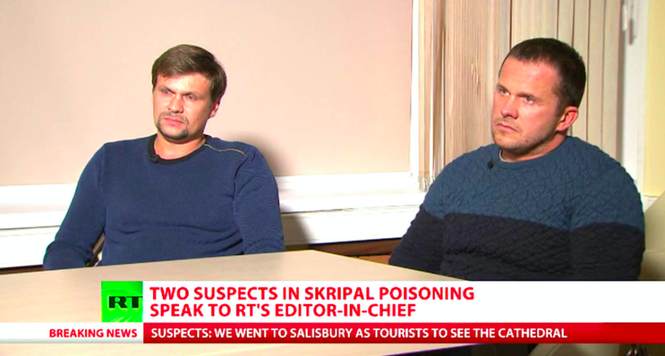 <em>The pair denied they were behind the poisoning of Sergei Skripal and his daughter Yulia (PA/RT)</em>